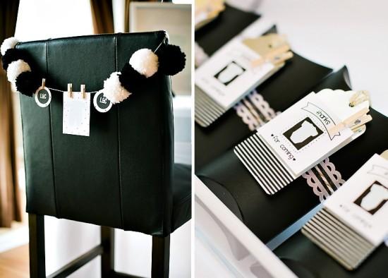 mini chair black and white poms