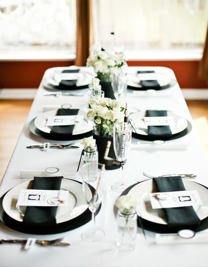 blending of black and white with the dishware