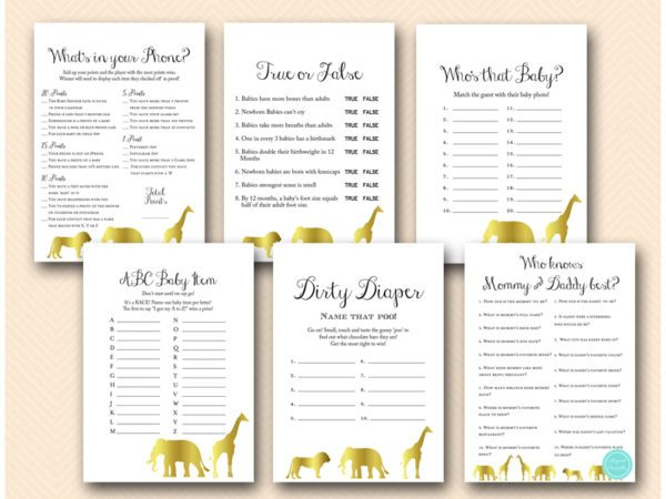 gold zoo animals baby shower game