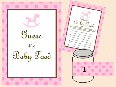 pink rocking horse baby shower games guess the baby food