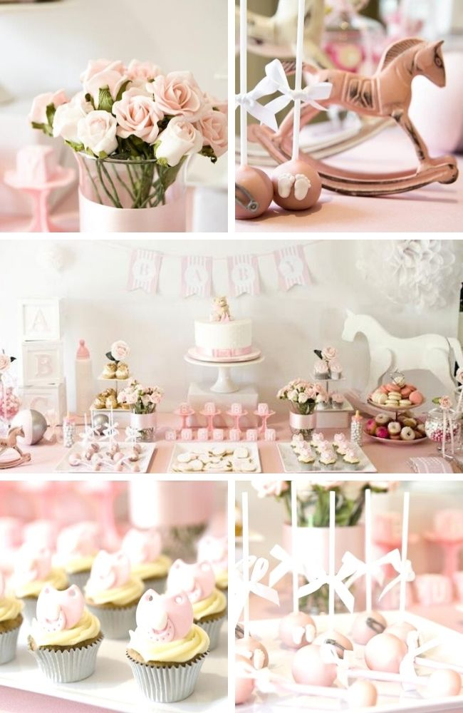 pink rocking horse baby shower tablescape