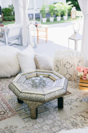 Boho Chic Inspired Baby Shower seating area