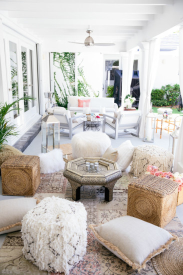 Boho Chic Inspired Baby Shower seating area, cozy and comfortable