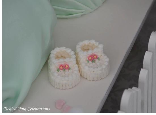 Enchanted Garden Baby Shower cake, baby shoe cake