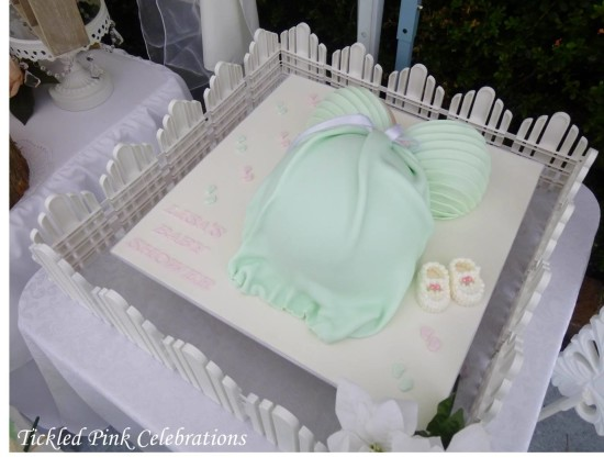 Enchanted Garden Baby Shower cake, baby shoe cake, mommy's belly cake