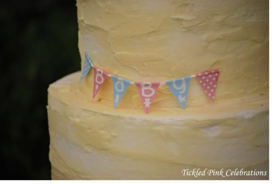 Enchanted Garden Baby Shower cake, mini bunting