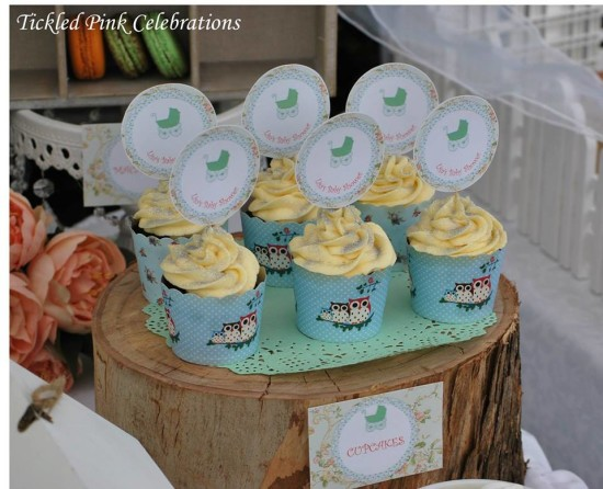 Enchanted Garden Baby Shower decoration ideas, cupcakes