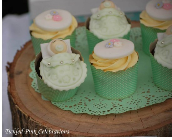 Enchanted Garden Baby Shower decoration ideas, cupcakes and toppers