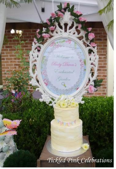 Enchanted Garden Baby Shower dessert table, backdrop and centerpiece cake