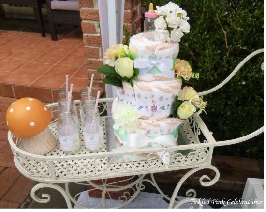 Enchanted Garden Baby Shower diaper cake