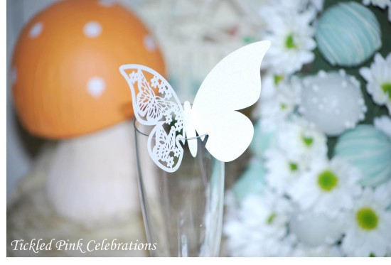Enchanted Garden Baby Shower drinks, glass with butterfly