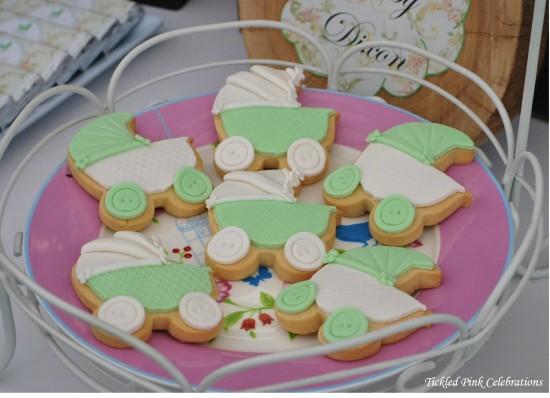 Enchanted Garden Baby Shower gender neutral cookies, baby stroller cookies
