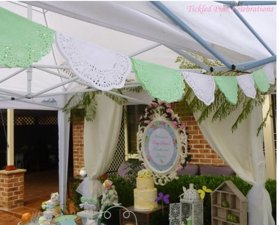 Enchanted Garden Baby Shower, shabby chic doilies banner