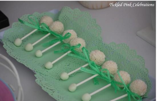 Enchanted Garden Baby Shower treats, baby raffle cakepops