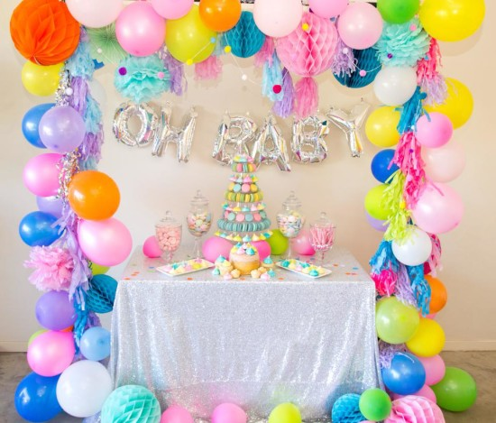 oh baby colorful baby shower decorations, gender neutral
