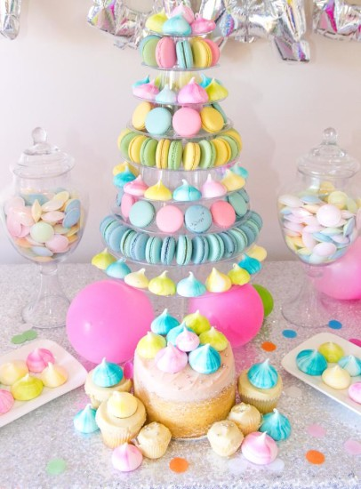 oh baby colorful baby shower decorations, gender neutral, sweet dessert table, cake