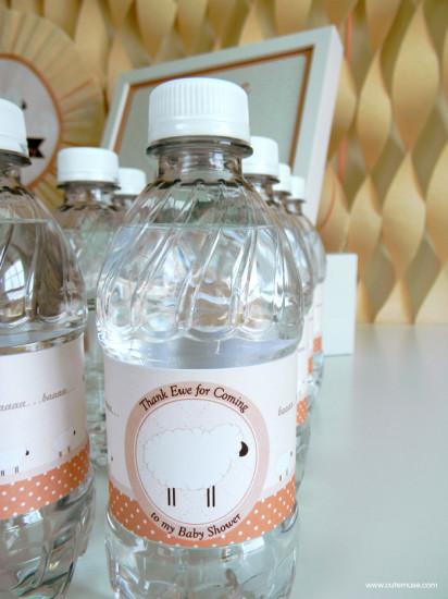 Peach Little Lamb Baby Shower drink bottle