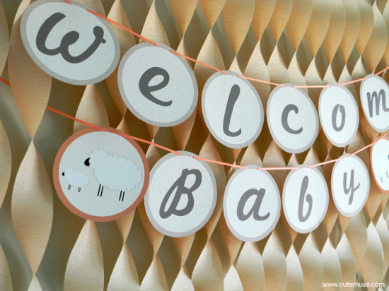 Peach Little Lamb Baby Shower welcome banner