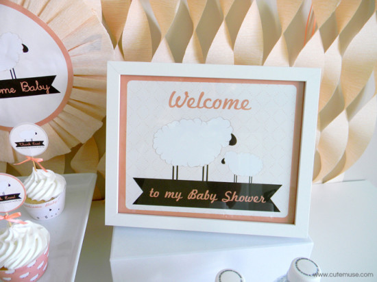 Peach Little Lamb Baby Shower welcome sign