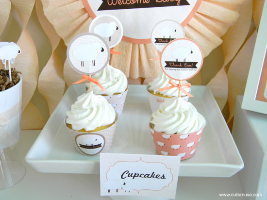 Peach Little Lamb Baby Shower cupcakes with little ribbons