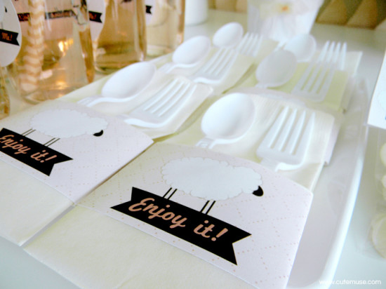 Peach Little Lamb Baby Shower guest table cutlery