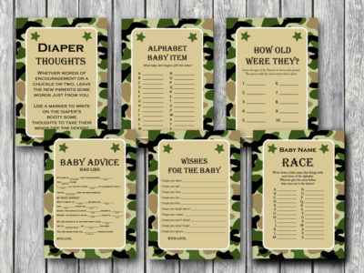 Camo Baby Shower Game Pack Printable