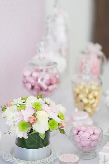 Pink and Gold Butterfly Baby Shower candy buffet
