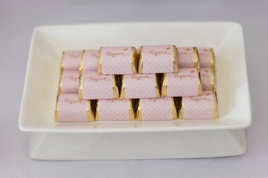 Pink and Gold Butterfly Baby Shower chocos