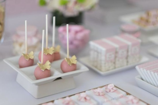 Pink and Gold Butterfly Baby Shower dessert cakepops
