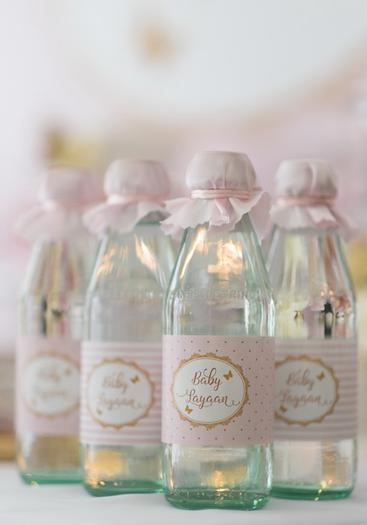 Pink and Gold Butterfly Baby Shower drink bottles