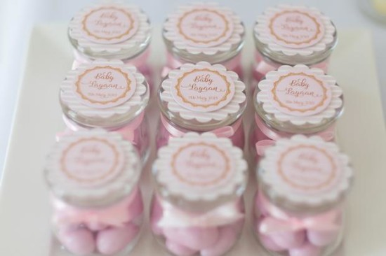 Pink and Gold Butterfly Baby Shower favors, candy in jar