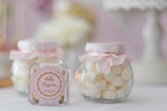 Pink and Gold Butterfly Baby Shower favors, candy in jars