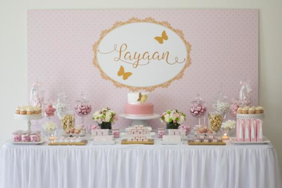 Pink and Gold Butterfly Baby Shower ideas