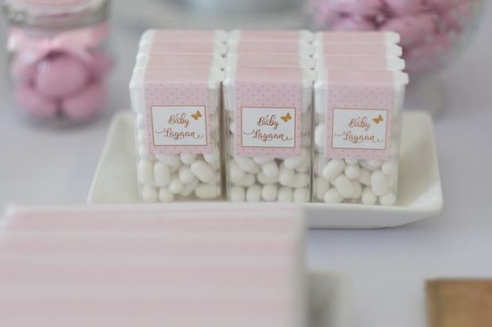 Pink and Gold Butterfly Baby Shower treats, tic tacs