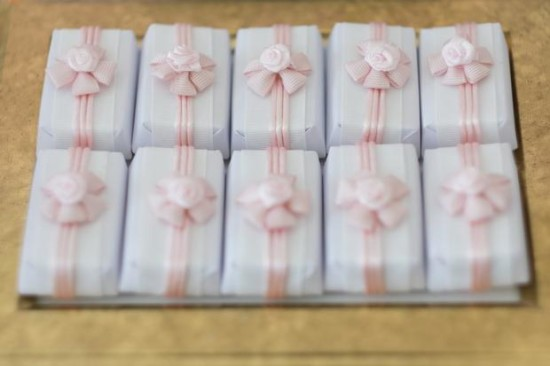 Pink and Gold Butterfly Baby Shower treats wrapped