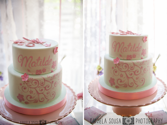 Vintage Pastel Baby Christening cake idea