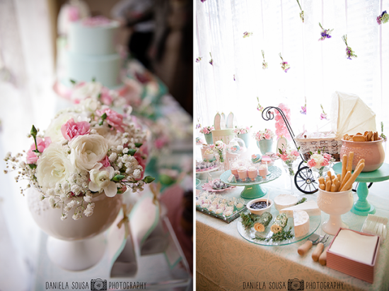 Vintage Pastel Baby Christening ideas, dessert table and baby stroller