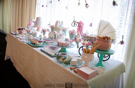 Vintage Pastel Baby Christening ideas, dessert table and baby stroller, overview