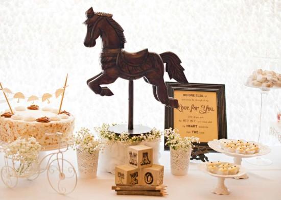 Vintage Rocking horse Baby Shower, little umbrella bunting cake topper