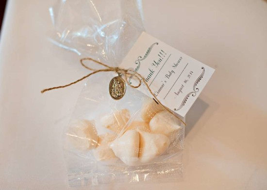 Vintage White Baby Shower favors with tags