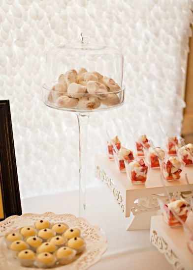 Vintage White Baby Shower food ideas, displayed beautifully