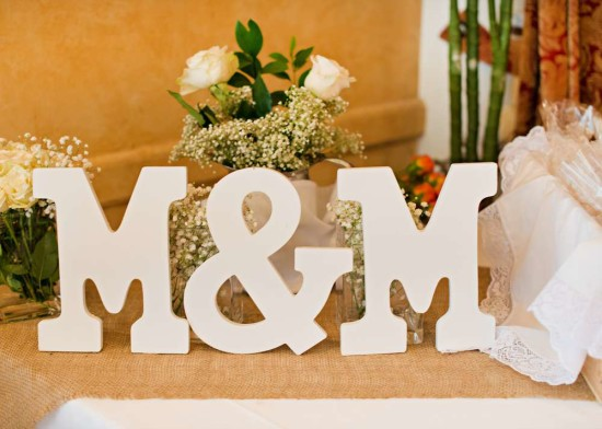 Vintage White Baby Shower wooden letters