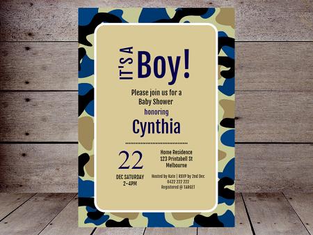 blue camo baby shower editable invitation