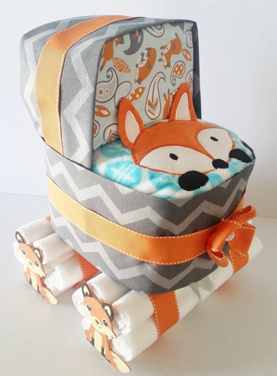 Fox baby shower diaper stroller