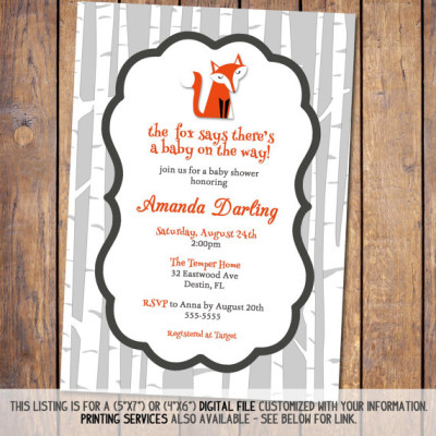 fox baby shower invitations, gender neutral baby shower invitation