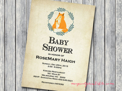 Foxy baby shower invitation