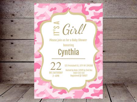 pink camo baby shower editable invitation