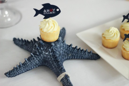 Ahoy! Nautical Themed Baby Shower cupcake toppers