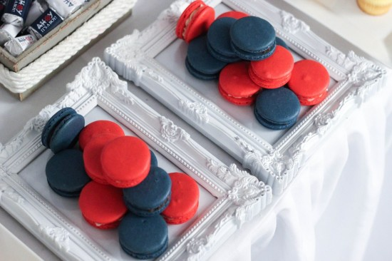 Ahoy! Nautical Themed Baby Shower macarons