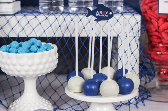 Ahoy! Nautical Themed Baby Shower sweets, cakepops